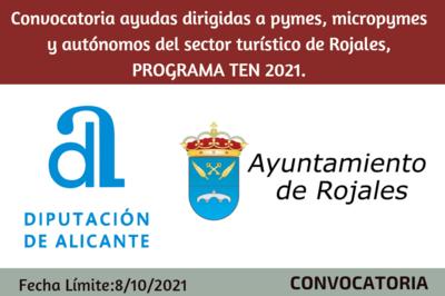 Ayudas dirigidas a pymes, micropymes y autónomos del sector turístico de Rojales, PROGRAMA TEN 2021.