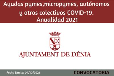 Ayudas pymes,micropymes, autónomos y otros colectivos COVID-19. Ayto de Denia
