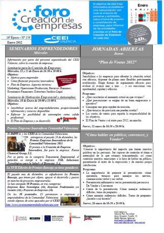 Actividades Foro Creación de Empresas ENERO 2012