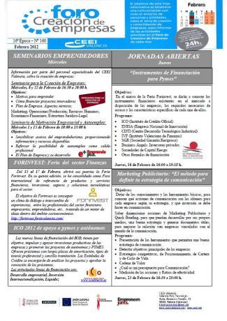Actividades Foro Creación de Empresas FEBRERO 2012