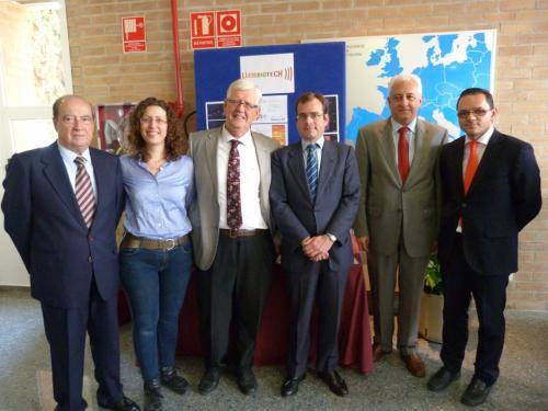 Microbiotech posa junto a su stand durante el Expo Day CEEI