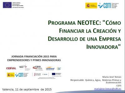 Programa NEOTEC. Iniciativas y apoyo en el ámbito nacional