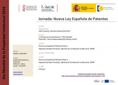 Programa de la Jornada La Nueva Ley Espa�ola de Patentes