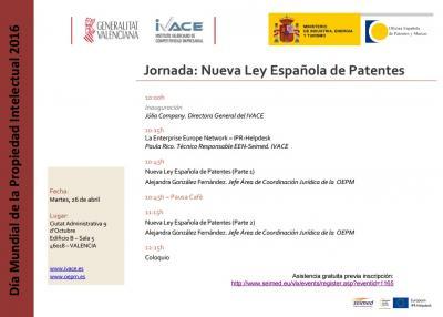 Programa de la Jornada La Nueva Ley Española de Patentes