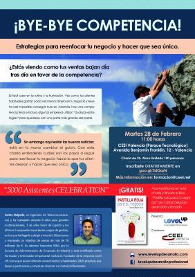 Cartel Bye bye Competencia Level up 28 de febrero en CEEI Valencia[;;;][;;;]