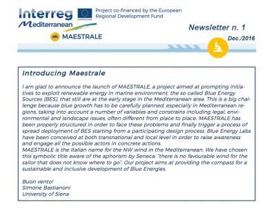MAESTRALE Newsletter 1
