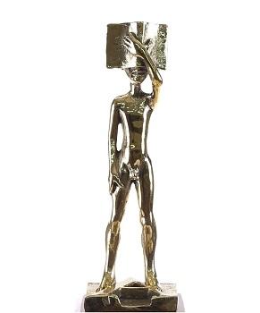 Trofeo diseñado por Manuel Boix, símbolo de los 'Premis Literaris Ciutat d'Alzira'.