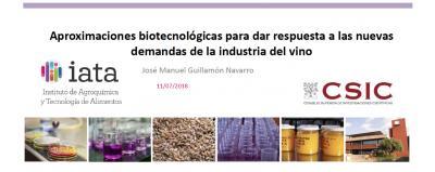 Ponencia: Aproximaciones biotecnológicas para las nuevas demandas de la industria del vino
