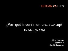 "Car�tula o portada ponencia ""Por qu� invertir en una Start up"""