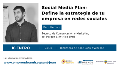 La jornada estará a cargo de Paco Hernaiz, técnico de Comunicación y Marketing del Parque Científico UMH