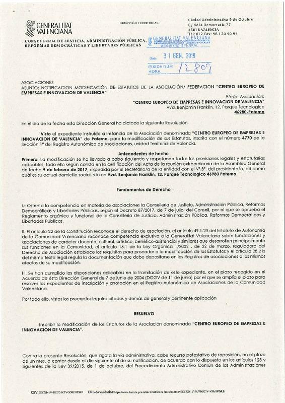 Estatutos CEEI Valencia (Portada)