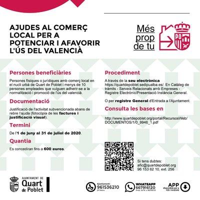 Ayudas al Comercio Local de Quart de Poblet para potenciar y favorecer el uso del valenciano en 2020