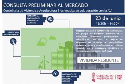 Cartel Webinar Consulta Preliminar al Mercado para el reto VIVIENDA