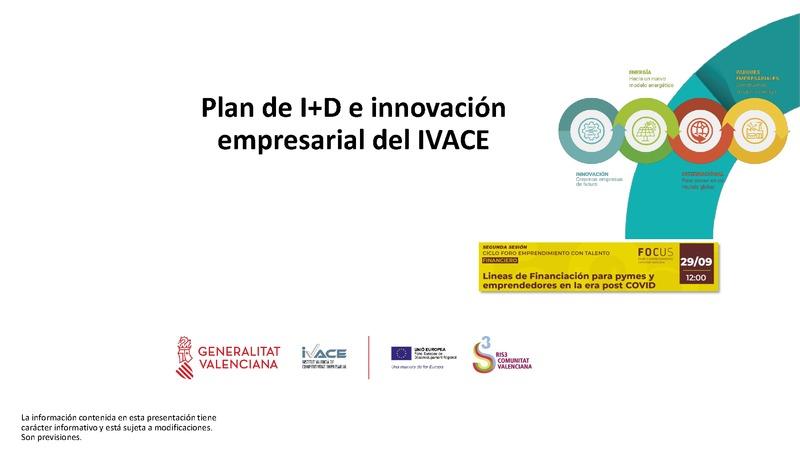 Ponencia de Javier Mínguez del Área de Empresas y Asociaciones en IVACE Innovación.