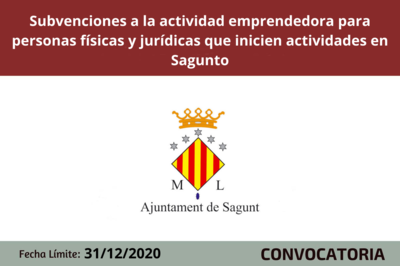 Subvenciones a la actividad emprendedora para personas físicas y jurídicas que inicien actividades en Sagunto