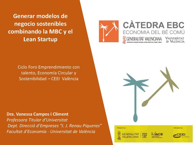 Presentación de Vanessa Campos en el Foro Modelos de negocio sostenible: una apuesta necesaria en la nueva era