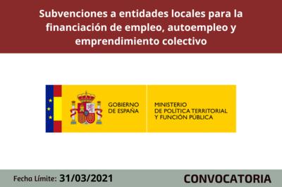 Subvenciones a entidades locales para la financiación de proyectos de empleo, autoempleo y emprendimiento colectivo