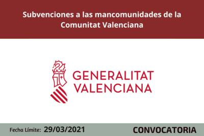 Subvenciones a las mancomunidades de la Comunitat Valenciana