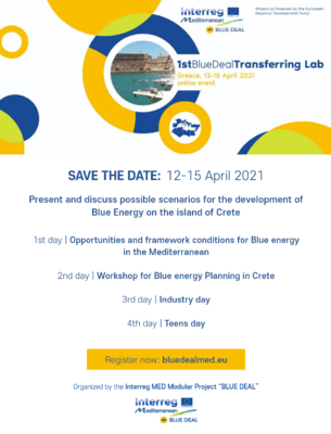 BLUE DEAL Transferring Lab Crete - SAVE THE DATE