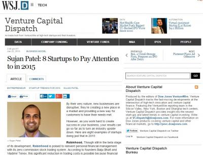 Sujan Patel: 8 Startups to Pay Attention to in 2015 - Venture Capital Dispatch